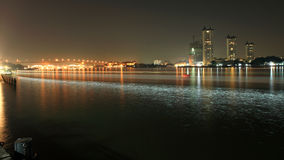 Light trail on Chao Phraya river at night Stock Image