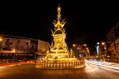 Light trail at Chiang Rai Clock Tower Royalty Free Stock Photography