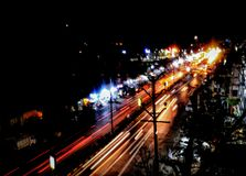 Light trail in a citylight royalty free stock images