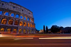 Light Trail at Colosseum in Twilight Royalty Free Stock Photo
