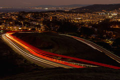 Light trail in the hill and the sky. Stock Photography