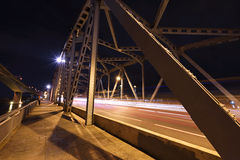 Light trail on Krungthep bridge in Bangkok Stock Image
