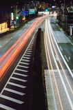 LIGHT TRAIL. Long exposure of traffic in Fukuoka Japan Royalty Free Stock Photography