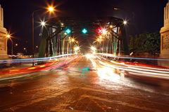 Light trail at rama 1 steel bridge Royalty Free Stock Image
