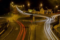 Light trail roundabout Stock Images