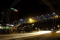 Light Trail at Seremban City. Im taking this picture at Seramban city in front of Train Station and infront of Seremban Prima Plaza Shopping Mall when car moving Stock Images
