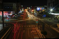 Light Trail Seremban Town At Night. Taking this picture during night at Seremban Town with using techinc lighttrail or slow shutter royalty free stock images