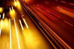 Light Trails. High traffic road with automobile light trails in a rush-hour Royalty Free Stock Images