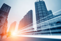 The light trails. On the modern building background in shanghai china royalty free stock photos