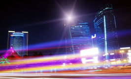 The light trails. On the modern building background in shanghai china Stock Photography