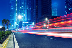 Light trails. On the street in shanghai ,China Stock Photography