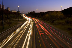 Light trails. On Don Valley Parkway Stock Photography