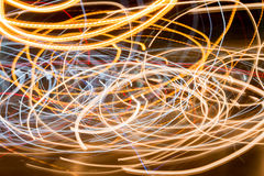 Light trails against dark background on road Stock Photography