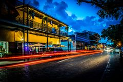 Light trails along Front Street in Natchitoches. Showing shops and restaurants Royalty Free Stock Photo