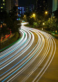 Light trails along Havelock Road in Singapore Royalty Free Stock Photography