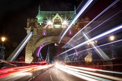 Light trails along Tower Bridge in London royalty free stock photo