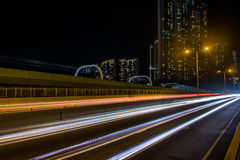Light trails: Ap Lei Chau bridge. Photo of light trails in Hong Kong Royalty Free Stock Images