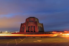 Light Trails Around Vista House. Light Trails of Cars going rround Vista House on Crown Point in Columbia River Gorge Oregon Royalty Free Stock Photo