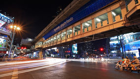 Light trails on Asoke junction in Bangkok stock photography