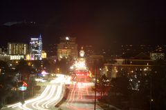 Light Trails at Boise's Capitol Boulevard. Night scene with light trails at Boise's Capitol Boulevard Royalty Free Stock Images