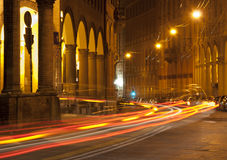 Light trails of Bologna Stock Photography