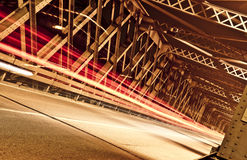 Light Trails on the Bridge, Cremona, Italy. Light trails on the big bridge of Cremona city Royalty Free Stock Photos