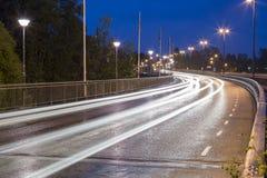 Light Trails on Bridge Stock Photos