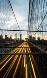 Light trails ; Brooklyn bridge Stock Image