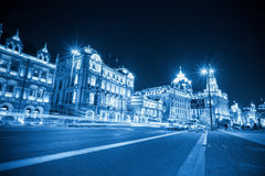 Light trails on the bund in shanghai. With historical buildings background ,blue tone Stock Image