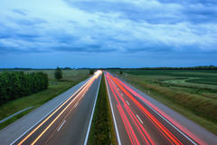 Light trails on busy motorway. Light trails on busy Hungarian motorway Stock Photos