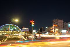 The light trails of car at intersection stock image