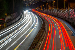 Light trails of cars Stock Photos