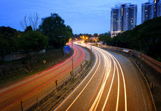 Light trails of cars at highways during blue hour. A long exposure shot during blue hour Stock Photography