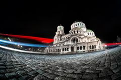 Light trails from cars passing Alexander Nevsky Cathedral. Sofia Royalty Free Stock Image