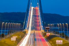 Light trails from cars at Pont de Normandie Royalty Free Stock Photos