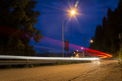 Light trails. Of cars on the road Stock Photos