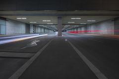 Light Trails of Cars in Tunnel Stock Photos