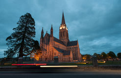 Light trails cathedral Royalty Free Stock Images
