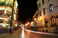 Light trails on Caumai street in Sapa downtown Royalty Free Stock Image