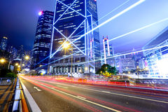 Light trails in city Royalty Free Stock Photos