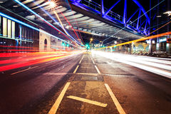 Light trails in City of London with bridge Royalty Free Stock Photo