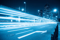 Light trails on the city road. In shanghai,blue tone royalty free stock photo