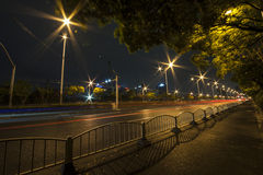 Light Trails On City Road At Night Royalty Free Stock Images