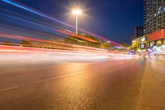 Light trails on city street royalty free stock photography