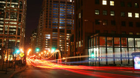 Light trails on Clark street at night in Chicago Stock Photos