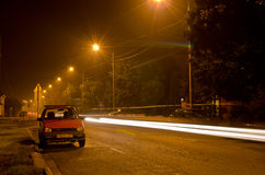 Light Trails on a cold Winter Night Stock Images