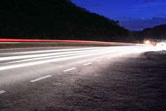 Light Trails on country streets Royalty Free Stock Photos