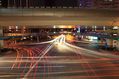 Light trails on the crossroads Royalty Free Stock Images
