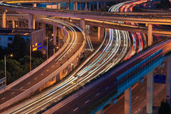 Light trails on the elevated road Stock Images