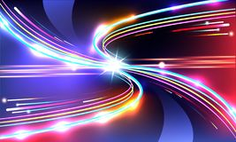 Light trails fiber optics technology concept, colorful acceleration of speed motion. Light trails fiber optics technology concept, colorful acceleration of vector illustration